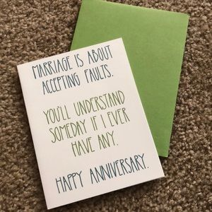 Marriage Is About Faults Anniversary Card